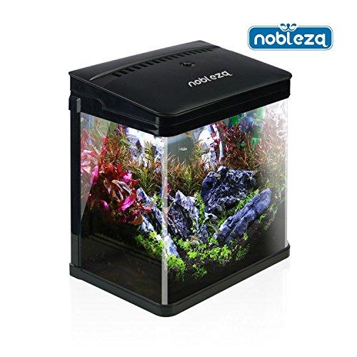 Nobleza - Acuario de Cristal con Cubierta y Luces LED. Sistema de Filtro de 7 litros. Color Negro