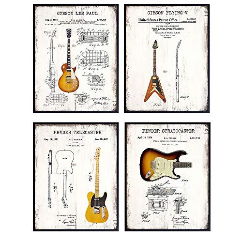 Guitar Wall Art - Iconic Vintage Gibson, Fender, Les Paul, Stratocaster, Telecaster, Flying V Patent Print Poster Set - Gift for Music Fan, Musician, Guitar Player, Men - Room Decor for Teens Bedroom