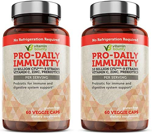 Pro Daily Immune Support Probiotics with Vitamin C Zinc Prebiotics 10 Strains 2 Pack product image