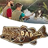 Alderaian Wood Large Mouth Bass - Fishing Rod Rack, Wall Mounted Fishing Pole Rack Storage Holder, Wood Carving Home Decoration, Gifts for Fishing Lovers Father's Day Unique Gift (A)