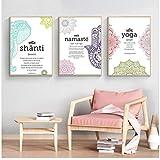 Zhaoyangeng Yoga Namaste Hamsa Art Poster and Print Text Citas Artwork Canvas Pintura Zen Wall Picture Modern Home Decoration- 50 x 70 cm x 3 cm