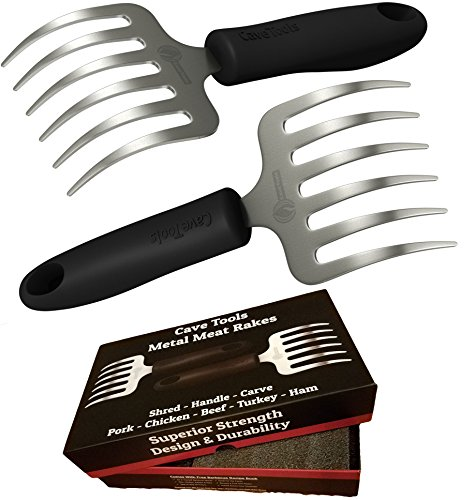 Cave Tools Pulled Pork Shredder Claws - Stainless Steel BBQ Meat RAKES - Shredding Handling & Carving Food from Grill Smoker or Slow Cooker - Metal Barbecue & Crock Pot Handler Accessories