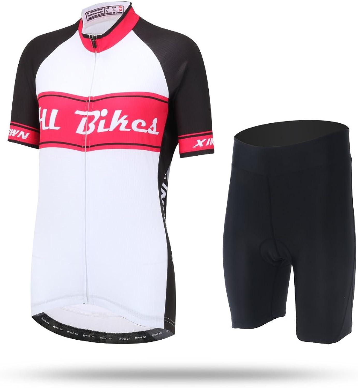 CH&Q Women Fashion Shortsleeve Cycling Jersey Summer MTB Bike Racing Top Suit