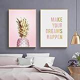 Golden Rosa Ananas Wandkunst Poster Druckt Traum Zitate