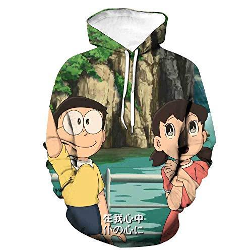Nios Nias 3D Estampado Grfico SudaderasSudadera con Capucha de Doraemon, Jersey con Estampado de Anime en 3D, Disfraz de Cosplay Manga Unisex-5_L