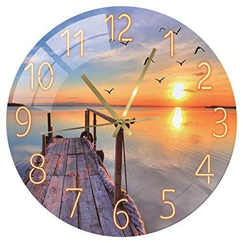 SWECOMZE Moderno reloj de pared sin ruido de tictac, reloj de pared...