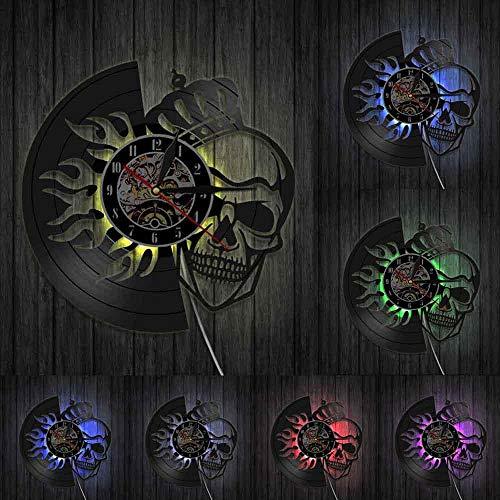 KDBWYC Reloj de Pared para Halloween Royal Skull Crown On Fire Disco de Vinilo King Skeleton Decoración del hogar Reloj Colgante 3D El Personaje con Led