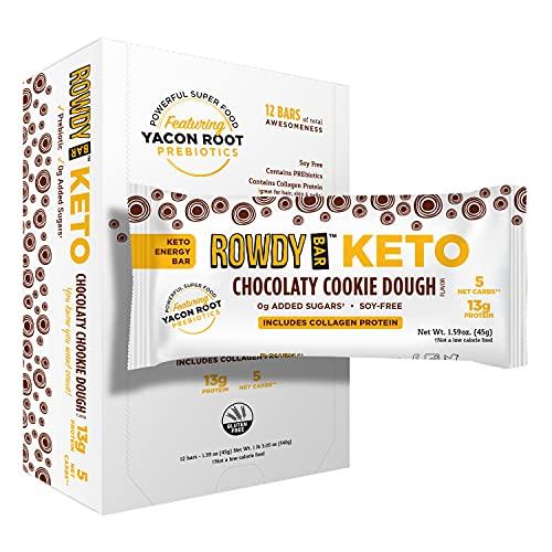 ROWDY BAR Keto Chocolaty Cookie Dough Protein Bar | Collagen & Egg White Protein | Yacon Root | Keto & Paleo Friendly | Gluten Free, Non GMO, Low Glycemic | 12 Bars per Box