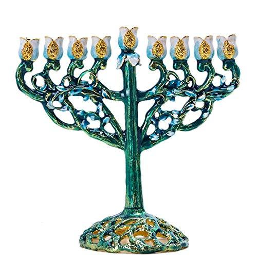 Teelichthalter Teelichtgläser Stimmungsleuchten Teelichtglas Kerzenhalterh & D 3 Stück Handbemalte Chanukka Menora Jüdische Lampe 9 Zweig Jerusalem Tempel Jüdischer Kerzenhalter Chanukka Kerzenhalter