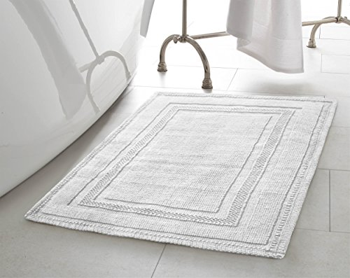 Jean Pierre New York Cotton StoneWash Racetrack 21x34 in. Bath Rug, White