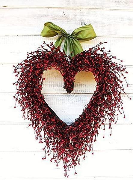 Heart Wreath Wedding Wreath Wedding Decor Weddings Valentines Day Wreath Heart Wreath Winter Wreath Holiday Wreath Red Wreath Mothers Day Gift Valentine Day Home Decor Anniversary Gift