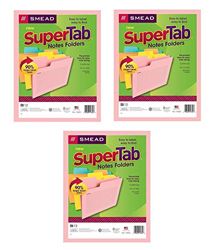 Smead SuperTab Notes Folder, Oversized 1/3-Cut Tab, Letter Size, Assorted Colors, 12 per Pack, 3 Pack, 36 Folders Total (11650)
