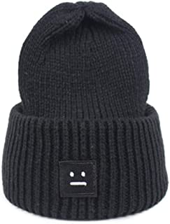 YLNNB Winter Women Knitting Hat Beanie Casual Thick Solid Color Warm Cap Smiling Face Pattern Knitted Hip Hop Hat Male Female