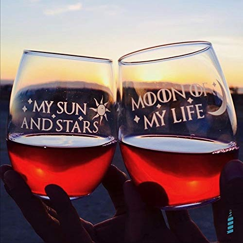 Integrity Bottles Premium Game of Thrones Wine Glasses, Set of 2, Moon of My Life, My Sun and Stars, Hand Etched 14.2oz Stemless Gifts, Made in USA, Sand Carved