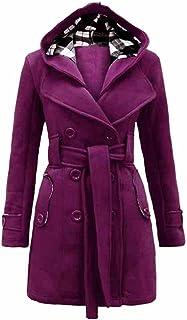 XQS Mens Single Breasted Turn Down Collar Slim Woolen Overcoat Pea Coats