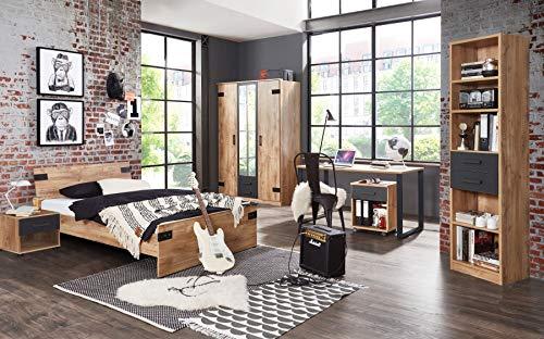 möbel-direkt Jugendzimmer Liverpool in Plankeneiche mit Absetzungen in Graphit 6 teiliges Komplettset mit Schrank, 140er Bett, Nachttisch, Standregal, Schreibtisch und Rollcontainer