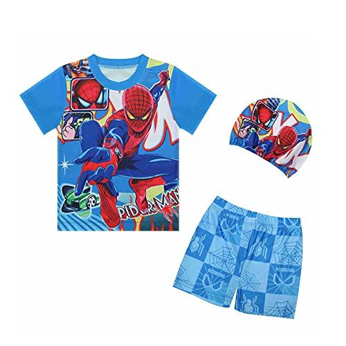 MYYLY Garçon Spiderman Imprimé Surf Maillot De Bain Vêtements Enfant Cosplay Plage Costume Avenger Été Soleil Combinaison Vêtement,Blue-L Kids (120~130CM)