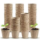 Macetas Biodegradables, 80 Piezas Macetas de Fibra, Biodegradable, vivero Taza Suministros de jardinería 8 cm, para Plantasde de Semillero