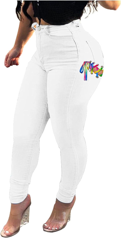 JPVDPA Women High Waisted Skinny Denim Jeans Stretch Slim Pants Calf Jeans Hip-Lifting Strappy Denim Pants