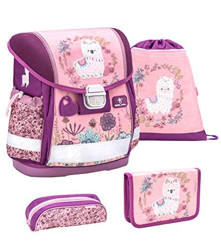 Belmil Schulranzen Set 4 - teilig ergonomischer Schulranzen Mädchen 1. klasse 2. klasse 3. klasse - Super Leicht 860-950 g/Grundschule/Lama, Llama/Pink, Rosa (403-13 Lama)