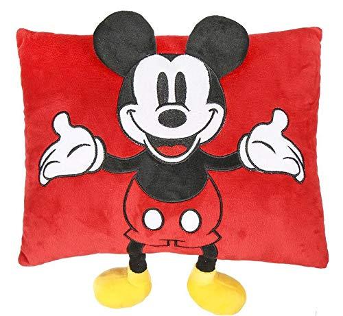Mickey Mouse Cojin con Aplicaciones Referencia CD Textiles del hogar Unisex Adulto, Rojo, S/T