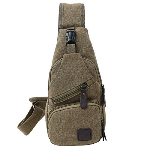 TOPEIUS Canvas Shoulder Backpack,Sling Backpack,Mini Sling Bag, Travel Hiking Daypack for Men or Women