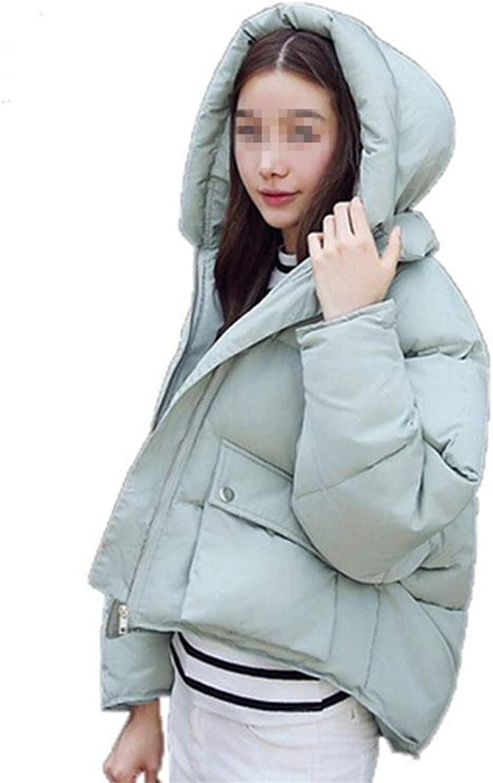 Loozo Winter Ladies Long Sleeve Fashion Loose Hooded Short Cotton Coat Bread Service