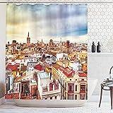 ABAKUHAUS Ciudad Vieja Casas Cortina de Baño, Valencia, España Ver, Material Resistente al Agua Durable Estampa Digital, 175 x 240 cm, Multicolor
