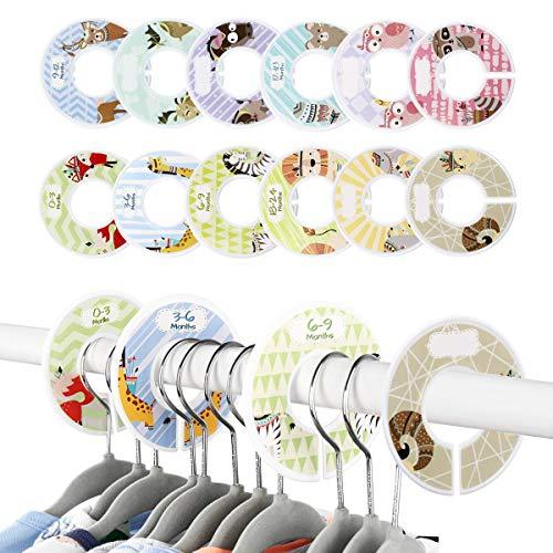 LATTCURE Baby Kleiderschrank Teiler, 12 Stück runde Babykleidung Schrankteiler Kleiderständer Größe Teiler Grössentrenner Tieremuster Größenreiter