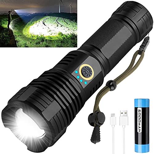 LED Tactical Flashlights Rechargeable, 90000 High Lumens Super Bright LED Flashlight, IPX6 Waterproof, Zoomable, 5 Modes, Pocket-Size Small Flash Light Flashlight for Hiking, Camping, Emergency