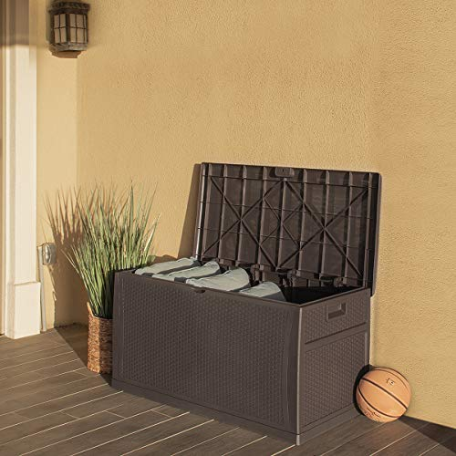 Barton Deluxe 120 Gallon Outdoor Deck Box Resin Patio Storage Container Storage...