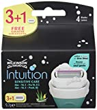 Wilkinson Sword Intuition Sensitive - Pack de 3 + 1 Recambios de Cuchillas Autoadaptables de 4 Hojas...