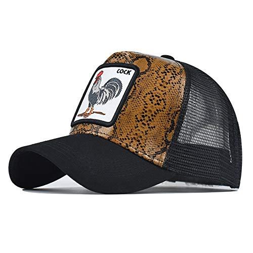 Bonfor Gorras de Hombre Baratas Animales de Malla Respirable, Gorras de Hombre Beisbol Vintage Bordado, Sombrero Mujer Verano para Unisex Adulto (Polla~Serpentina, Circunferencia:54-60 cm)