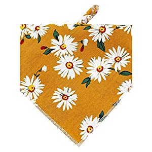 HDGDT Dog Bandanas, Washable Cotton Dog Scarfs, Triangle Bibs Scarf for Dogs Cats Pets (Cute Flower 2)