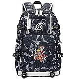 ZZGOO-LL Uzumaki Naruto/Sharingan/Uchiha Sasuke USB Mochila Backpack Casual Impermeable Viaje de Negocios con Unisex-E