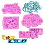 SUNSK Silikon Fondant Kuchen Formen 3D Happy Birthday Buchstaben Silikonformen Bonbon Schokoladenformen DIY Kuchen Süßigkeiten Gelee Backformen Geburtstag Tortedeko 4 Stück