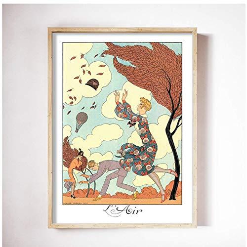 JLFDHR Ilustraciones de George Barbier Descargar Elementos Arte de la Pared Carteles e Impresiones Imagen Decorativa Decoración del hogar-50x70cmx3 Sin Marco