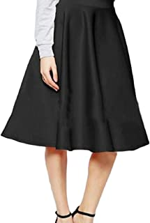 Womens High Waist Solid Spring Sexy Office Sunskirt Swing Midi Skirt
