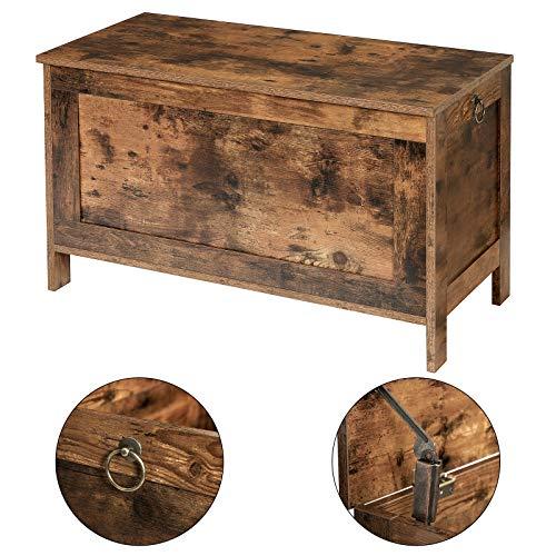 HOOBRO Spielzeugkiste, Sitzbank mit großer Stauraum, Vintage Schuhbank, Betttruhe, Flur, Schlafzimmer, Wohnzimmer, Holz, einfach zu montieren, Dunkelbraun EBF75CW01 - 7