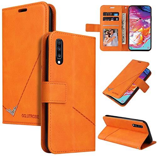 Snow Color [Huawei P20 Pro Hülle, Premium Leder Tasche Flip Wallet Case [Standfunktion] [Kartenfächern] PU-Leder Schutzhülle Brieftasche Handyhülle für Huawei P20Pro - COYKB060385 Orange