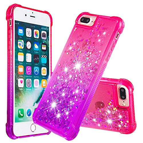 MOTIKO Carcasa para iPhone 8 Plus, iPhone 7 Plus, con purpurina transparente, con cristal brillante, arena movediza, TPU y silicona de poliuretano termoplástico