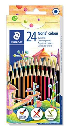 Staedtler 185 CD24 Farbstift, Stifte aus Wopex, Sechskantform, Kartonetui mit 24 ST Noris Colour Farbstiften