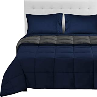 Bare Home Reversible Bed-in-A-Bag 5 Piece Comforter & Sheet Set - California King - Down Alternative - Ultra-Soft - Hypoallergenic - Breathable Bedding Set (Cal King, Dark Blue/Grey, Dark Blue)