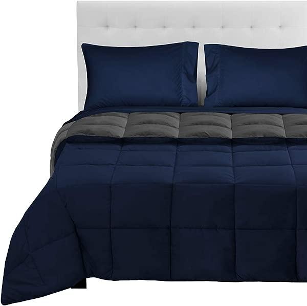 Bare Home Reversible Bed In A Bag 5 Piece Comforter Sheet Set Full Extra Long Down Alternative Ultra Soft Hypoallergenic Breathable Bedding Set Full XL Dark Blue Grey Dark Blue