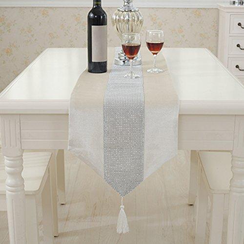 Moderne Tischläufer Flanell Strass Dining Tischdecke Läufer Tisch Cover Reinigungstuch Decor für Home Hotel Cafe Restaurant, Cremefarben/Weiß, 32*180cm