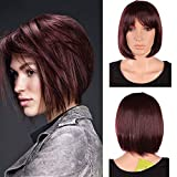 SEGO Parrucca Rossa Lunga Donna Parrucche Lunghe Wig Capelli Lisci BOB con Frangia 32cm per Cosplay Feste Carnevale Natale Halloween Party - Vino Rosso