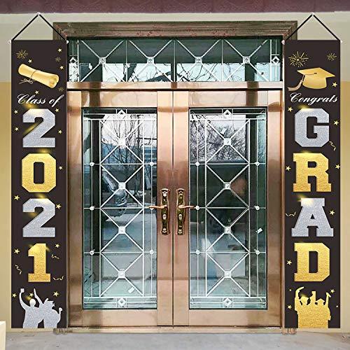 2021 Graduation Porch Sign, 12''x72'' Congrats Grad & Class of 2021 Graduation Banners, Outdoor/Indoor Gradution Party Supplies Front Door Hanging Garland for College High School Decorations (Black)