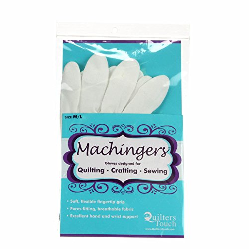 Machingers Quilting Gloves for Free-Motion Sewing - Lightweight and Form-Fitting Nylon-Knit Support Gloves Specifically Designed for Machine Quilters, by Quilter's Touch (Medium/Large)