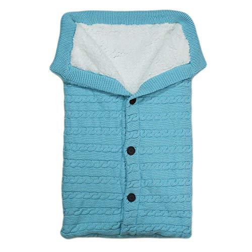 flqwe Saco De Dormir Bebé Todo El AñO,Saco de Dormir de Punto Grueso para bebé, carriola Exterior Cubierta Azul Cielo,Bebé Manta PortáTil Saco De Dormir Bebé