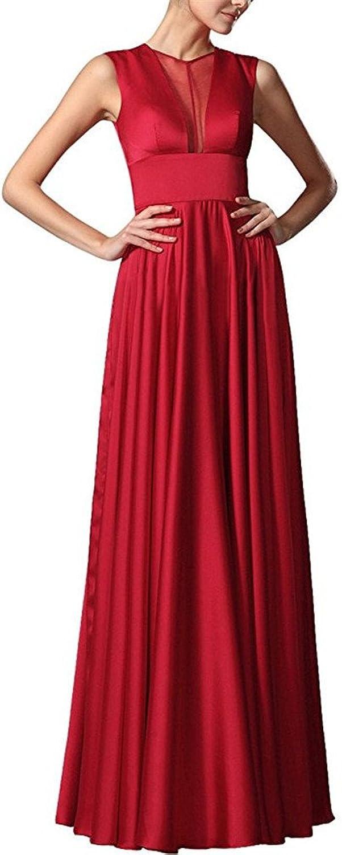 Staypretty O Neck Sleeveless Tulle Satin Sleeveless Bridesmaid Dress Long Women